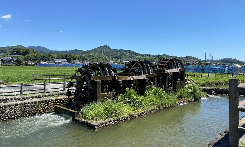 福岡の田園風景と水車